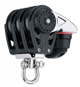 Harken Carbo Blok 40 mm tripel , svirvel , Cam-Cle